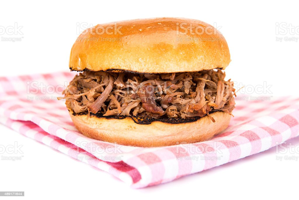 BBQ pulled pork sandwich stock photo