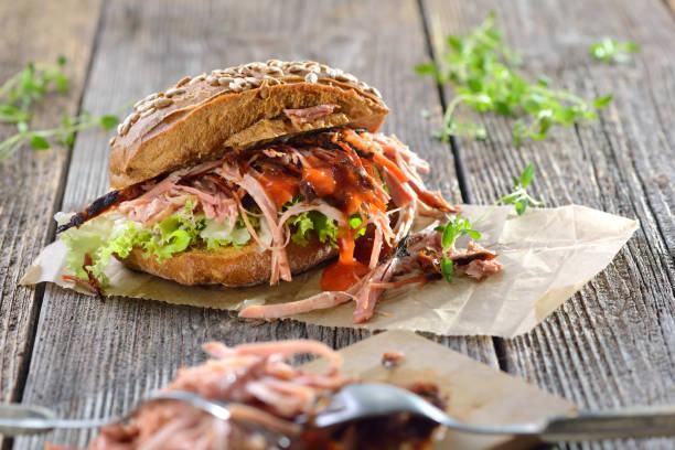 Pulled pork sandwich stock photo