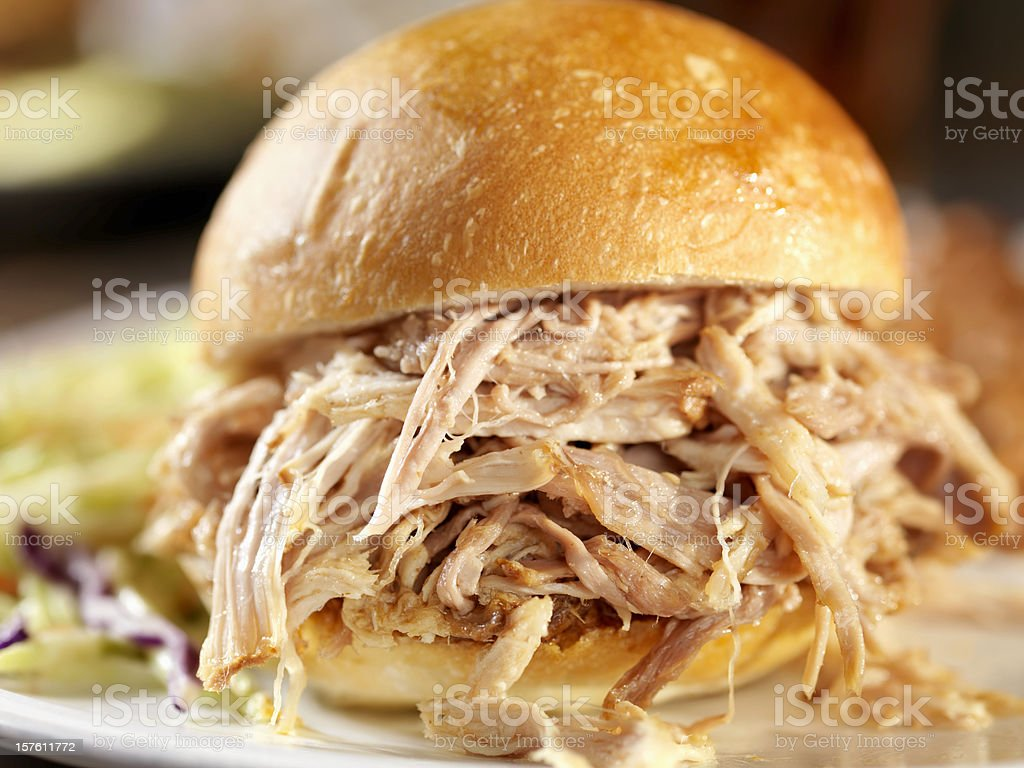Pulled Pork Sandwich with Coleslaw and Baked Beans stock photo