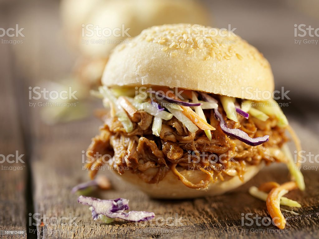BBQ Pulled Pork Sliders with Coleslaw stock photo