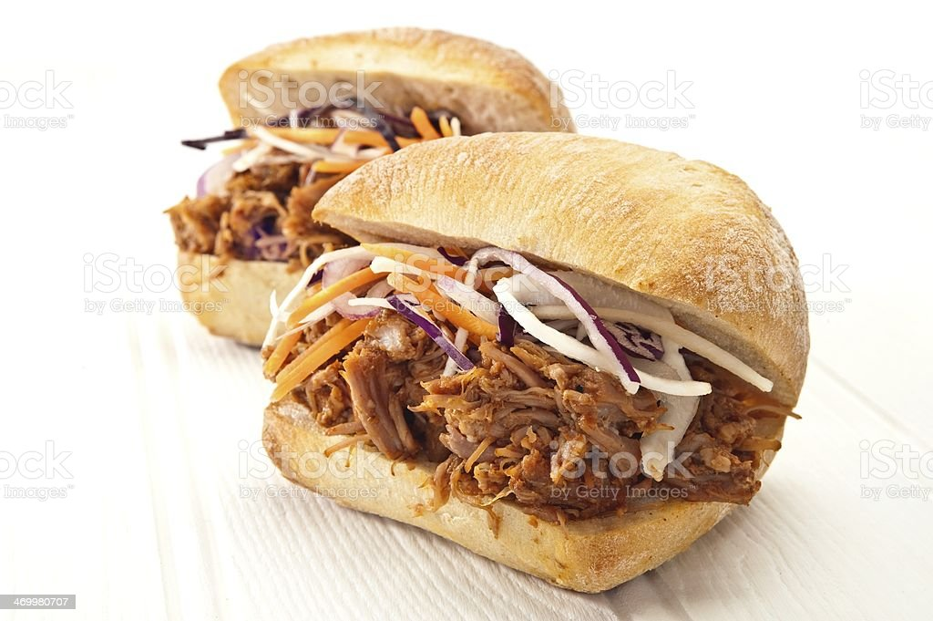 Pulled pork sliders with coleslaw stock photo
