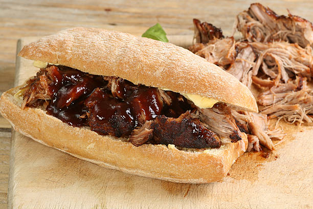 pulled pork with barbecue sauce stock photo