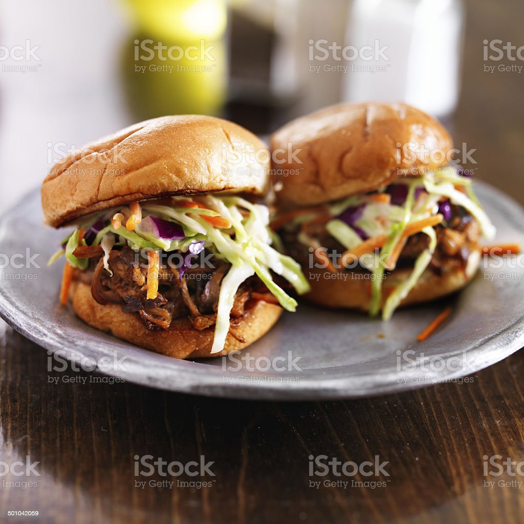 pulled pork with bbq sauce on a plate stock photo