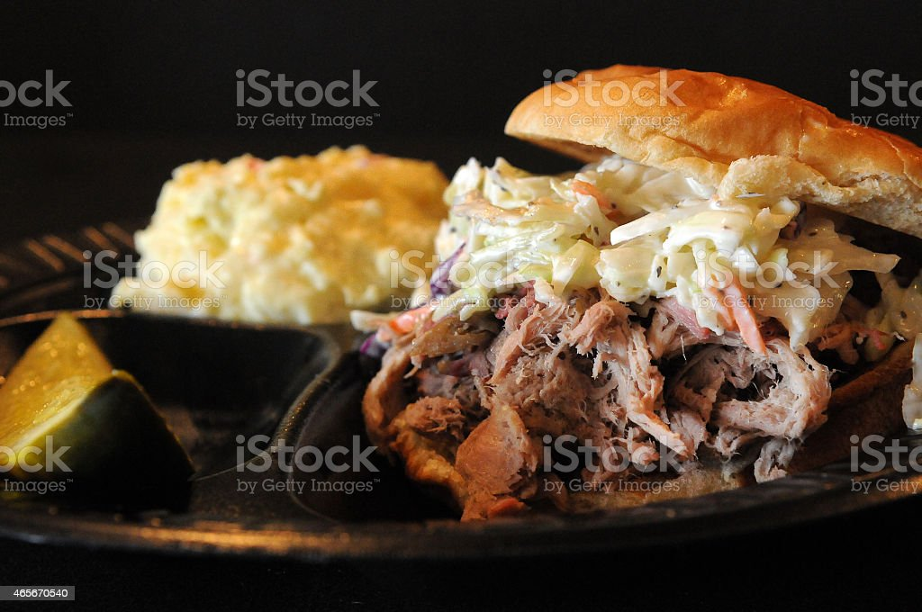 Pulled-Pork Sandwich Up-Close stock photo