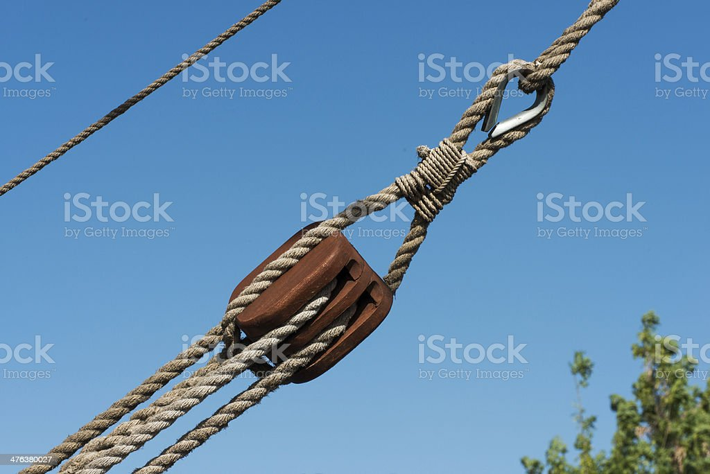 Pulley and Rope royalty-free stock photo