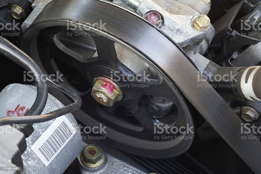 Pulley & Belt in Automobile Engine royalty-free stock photo