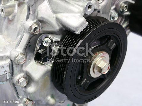 istock Pulleys of car engine mechanism 994140650