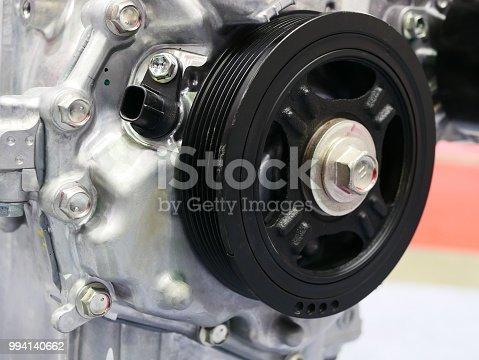 istock Pulleys of car engine mechanism 994140662