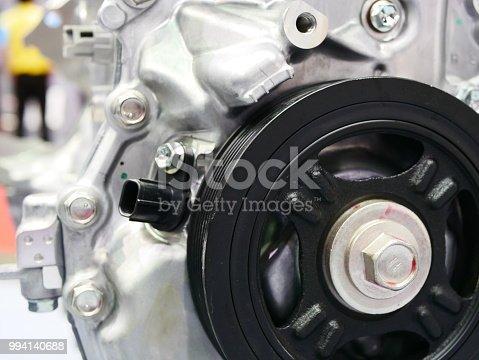 istock Pulleys of car engine mechanism 994140688