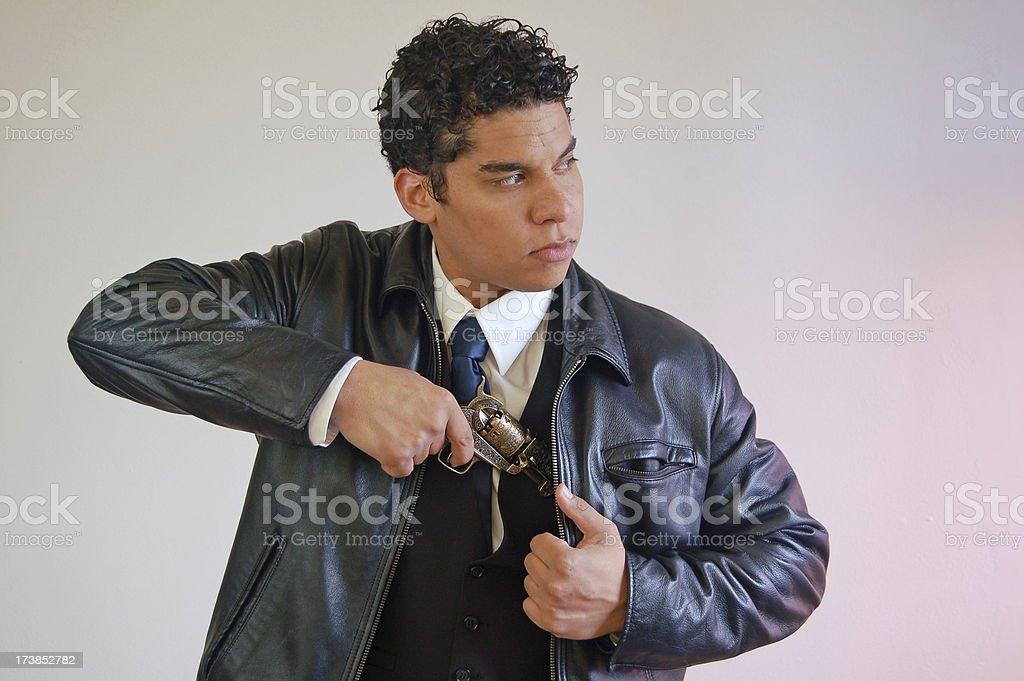 Pulling a Gun stock photo