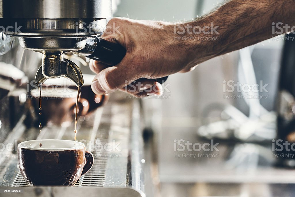 Pulling A Shot of Espresso royalty-free stock photo