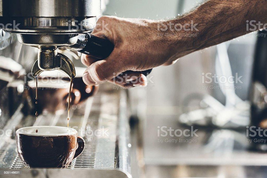 Extracción de un Espresso - foto de stock
