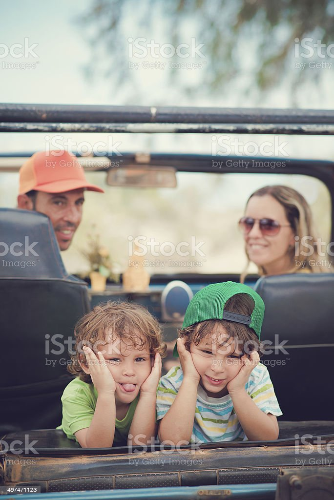 Pulling faces stock photo