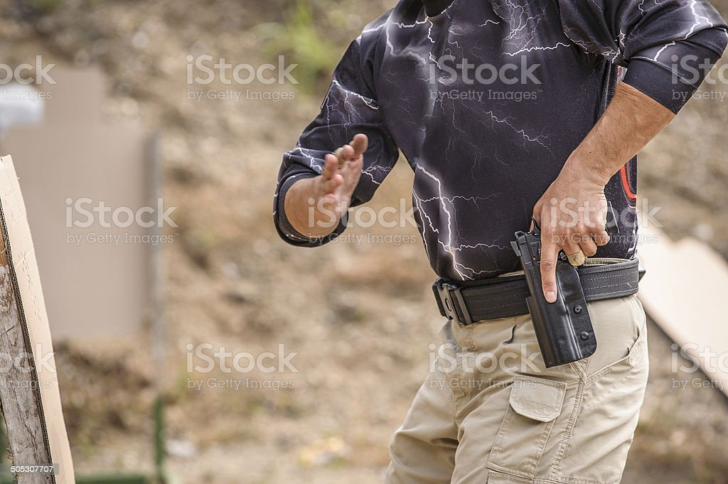 Pulling Gun Training stock photo