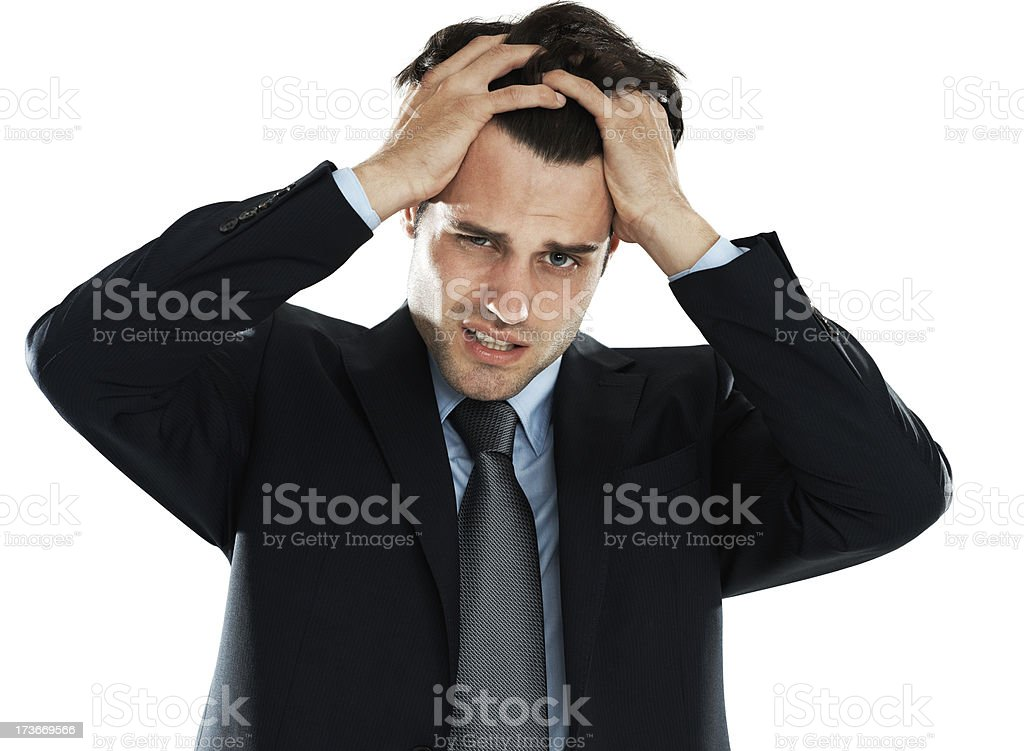 Pulling his hair out royalty-free stock photo
