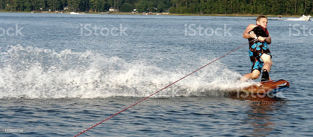 Pulling On The Wake Board royalty-free stock photo