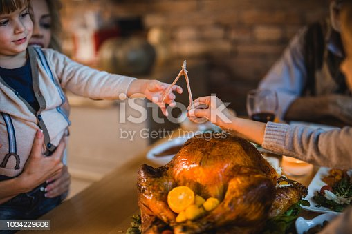 Little boy enjoying while having Thanksgiving dinner with his family and pulling a wishbone with his unrecognizable sibling.