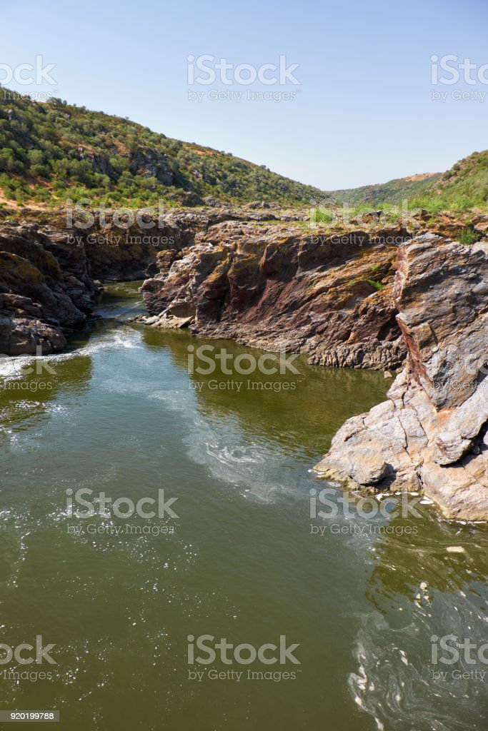 Pulo do Lobo or wolf's leap waterfall and cascade on river Guadiana, Alentejo, Portugal stock photo