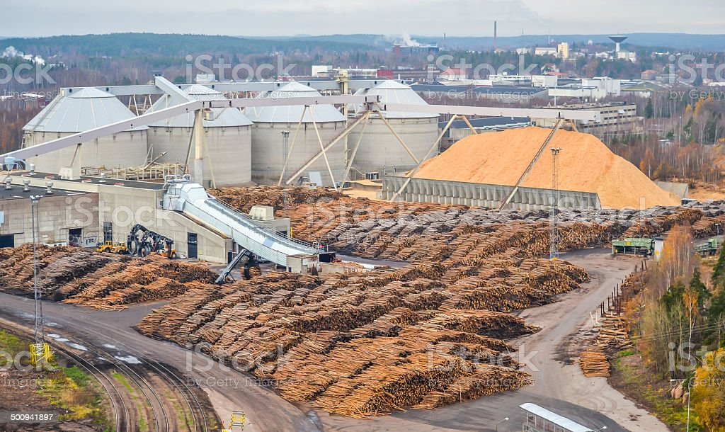 Pulp mill stock photo