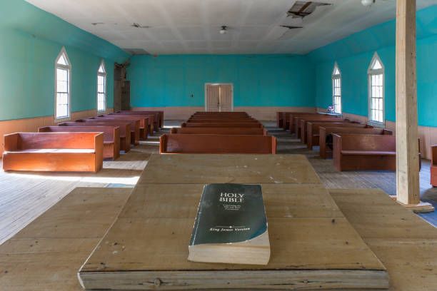 Pulpit in an old abandoned church Pulpit in an old abandoned African American church built by ex-slaves pulpit stock pictures, royalty-free photos & images
