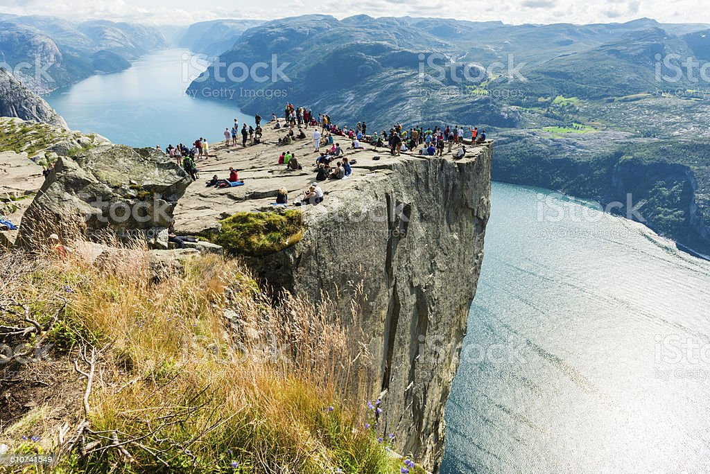 Pulpit Rock and Lysefjorden stock photo