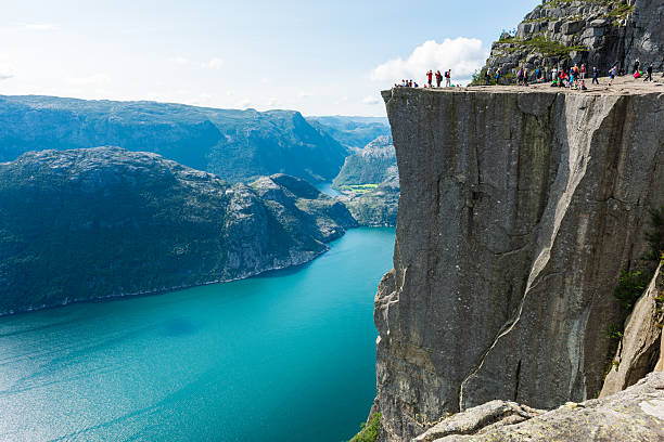 pulpit rock and lysefjorden - fjord stock photos and pictures