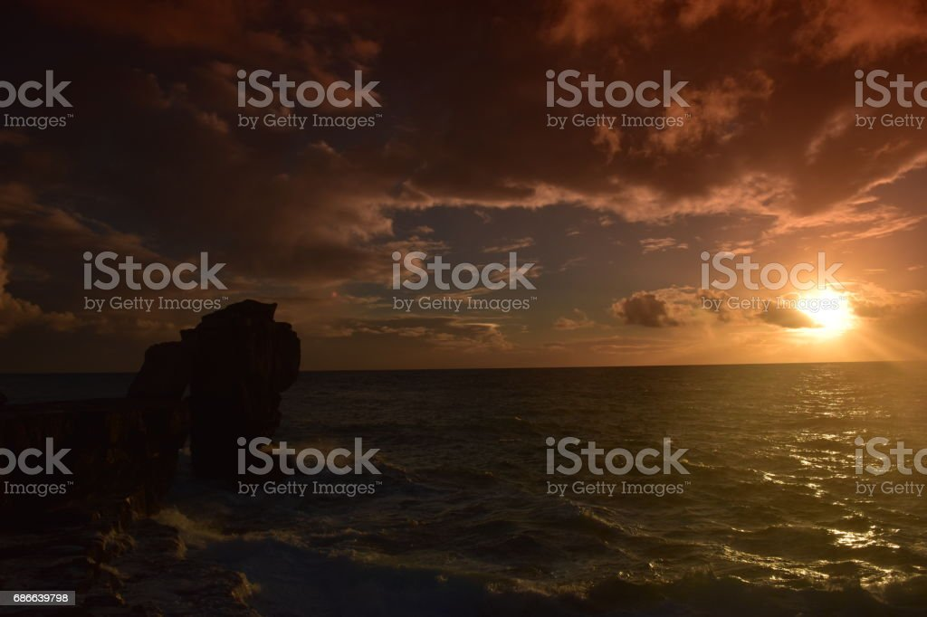 Pulpit Rock at Sunset Portland Bill Dorset England royalty-free stock photo
