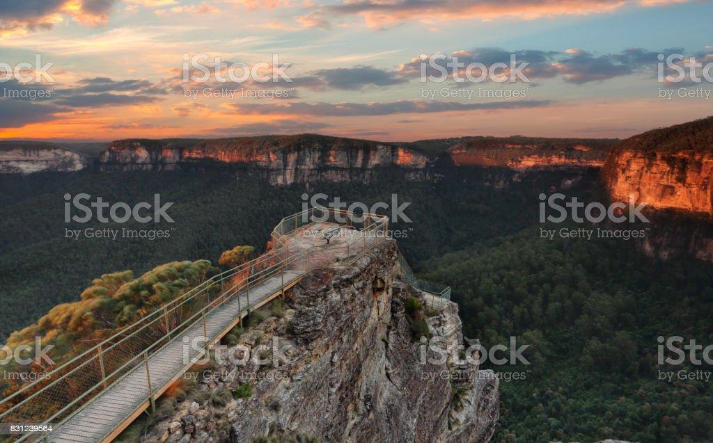 Pulpit Rock Blue Mountains Australia scenic views stock photo