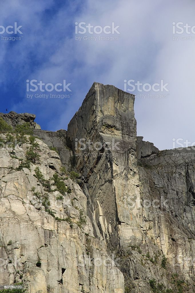 Pulpit Rock in Norway from below stock photo