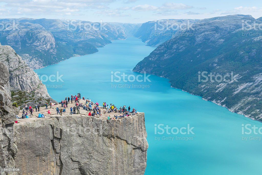 Pulpit Rock in Norway stock photo