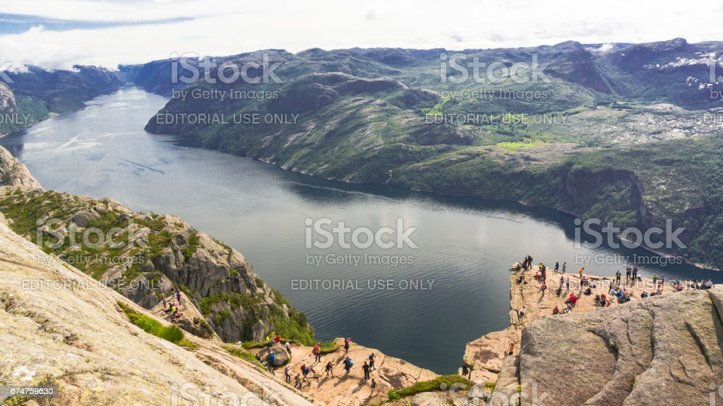 Pulpit rock  over the Lysefjord, Norway stock photo