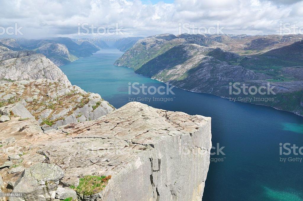 Pulpit Rock - Preikestolen at lysefjord Norway stock photo