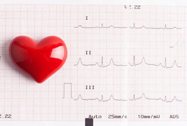 Pulse trace en rood hart foto