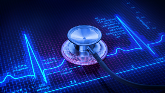 istock Pulse trace and Stethoscope 1091130498
