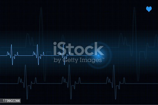 istock Pulse trace heart monitor in blue shades 173902266