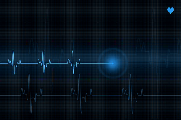 pulse trace heart monitor in blue shades - taking pulse stock photos and pictures