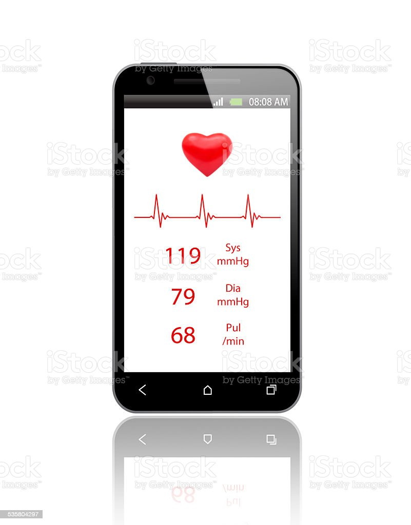 Pulsometer on the Mobile Phone stock photo