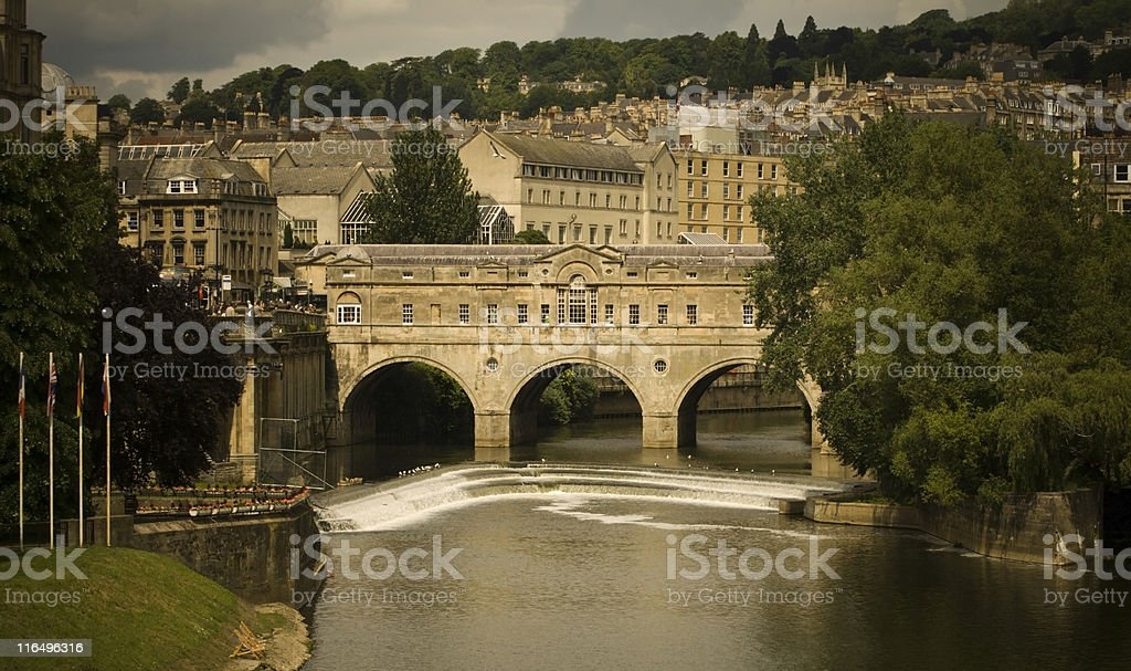 Pulteney Bridge on a stormy day in Bath stock photo