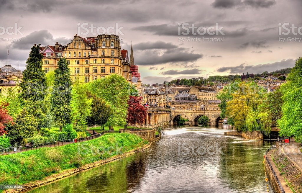 Pulteney Bridge over the River Avon in Bath, England stock photo