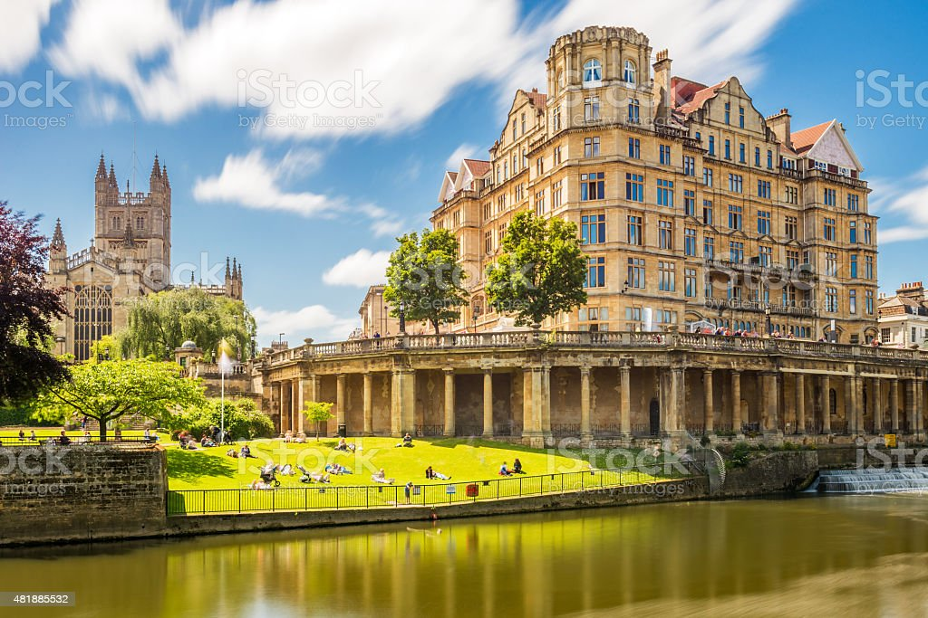 Pulteney Bridge United Kingdom city Bath stock photo