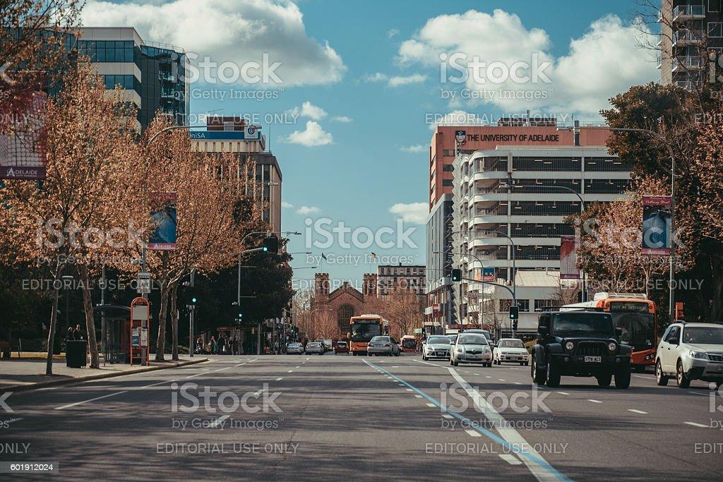 Pulteney Street towards North Terrace stock photo