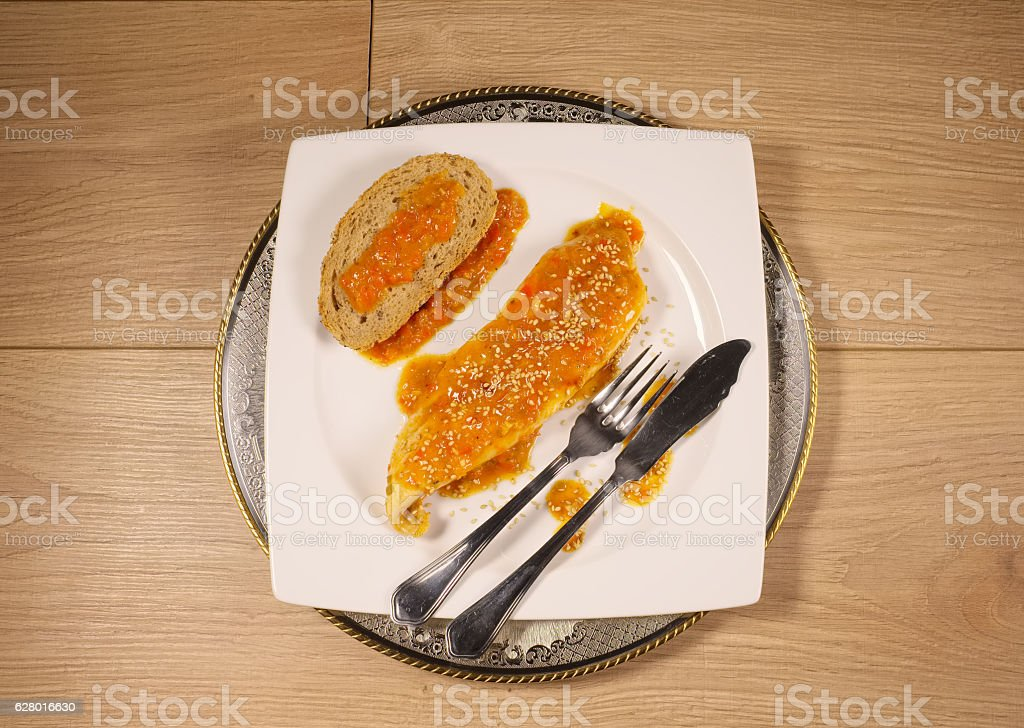 Pumfret with sauce stock photo
