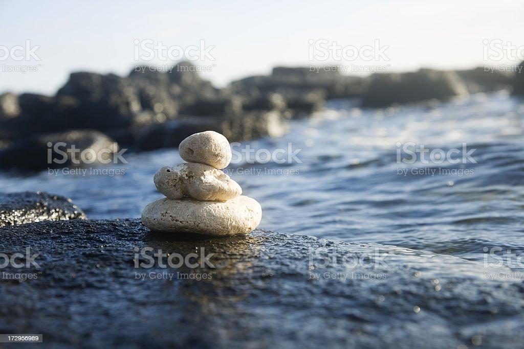 Pumice Stones on Black Volcanic Rock royalty-free stock photo