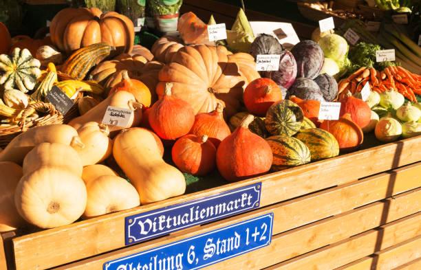 kürbis für den verkauf am viktualienmarkt in münchen - kürbis kaufen stock-fotos und bilder