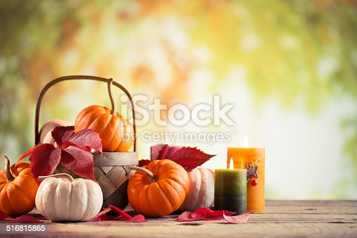 istock Pumkins with copy space 516815865