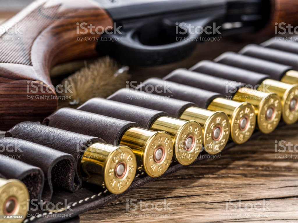 Pump action shotgun, 12 guage cartridge and ramrod on the wooden table. stock photo