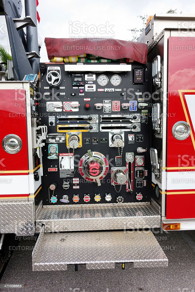 Pump and ladder controls on fire engine royalty-free stock photo