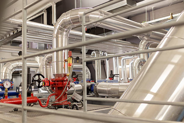 pump group - cogeneration plant stock photos and pictures