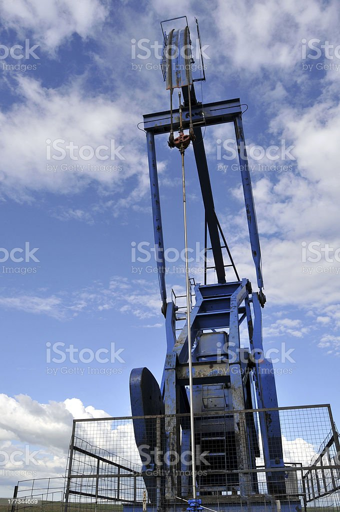 Pump jack closeup from the front royalty-free stock photo
