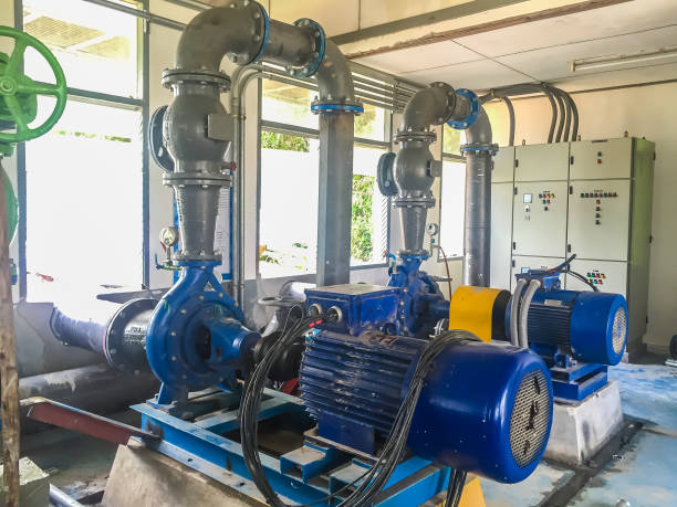 Pump motor in Water Treatment Plant of Thailand. Pump motor in Water Treatment Plant of Thailand. centrifuge stock pictures, royalty-free photos & images
